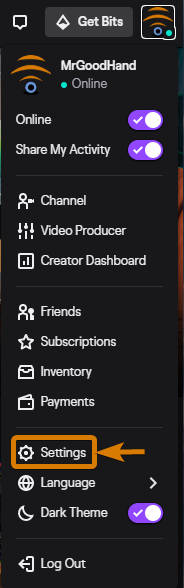 change your twitch name in the settings page.