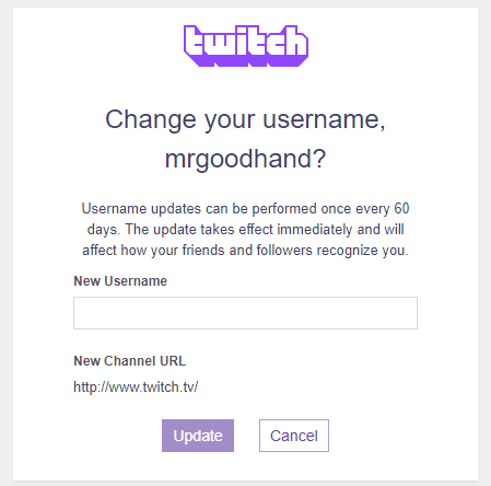 change your username on twitch
